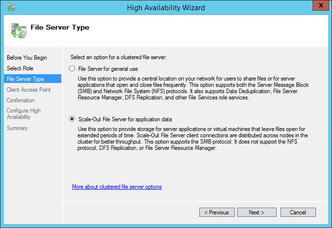 High Availability Wizard File Server Type