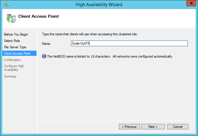 High Availability Wizard Client Access Point