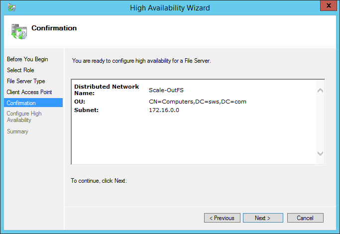 High Availability Wizard configuration confirmation