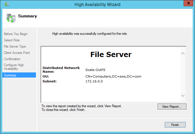 High Availability Wizard File Server configuration summary