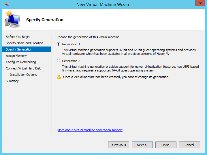New Virtual Machine Wizard Specify Generation