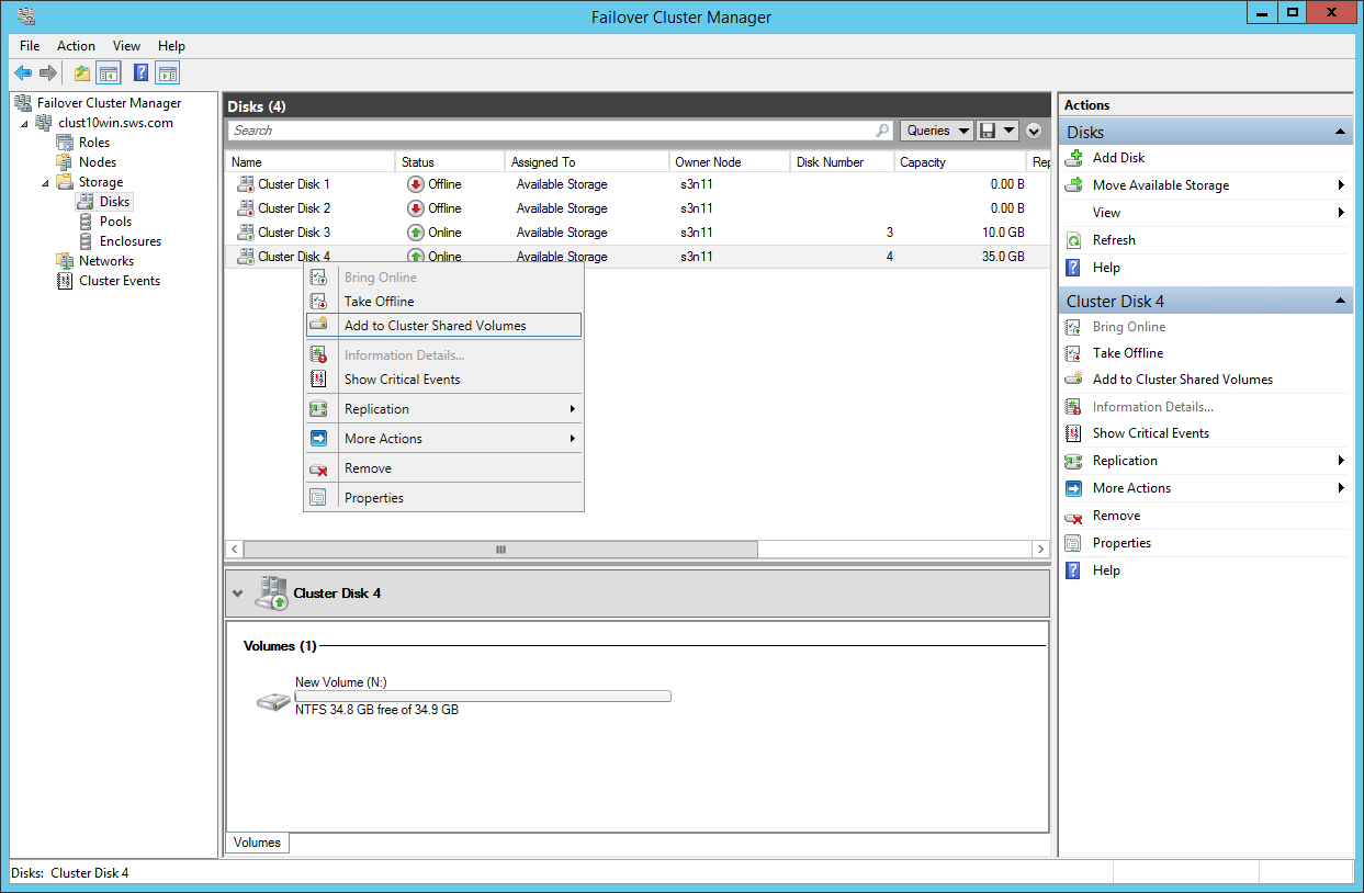 Failover Cluster Manager Add disks to Cluster Shared Volumes