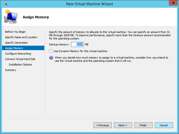 New Virtual Machine Wizard Assign Memory