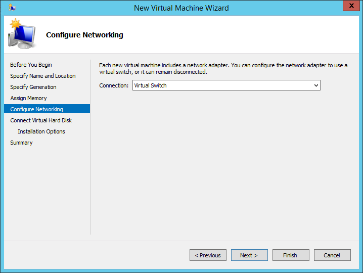 New virtual machine wizard configure networking