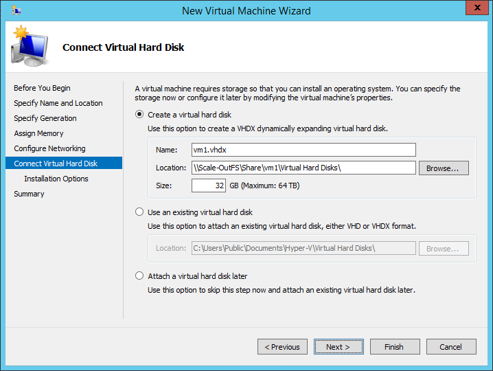 New Virtual Machine Wizard connect virtual hard disk