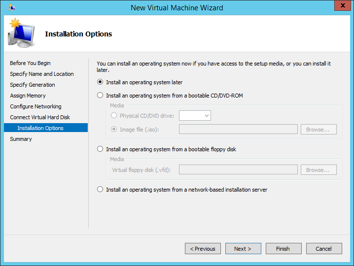 New Virtual Machine Wizard installation options