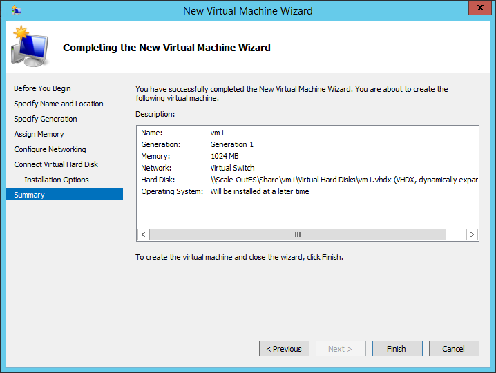 Completing the New Virtual Machine Wizard Summary