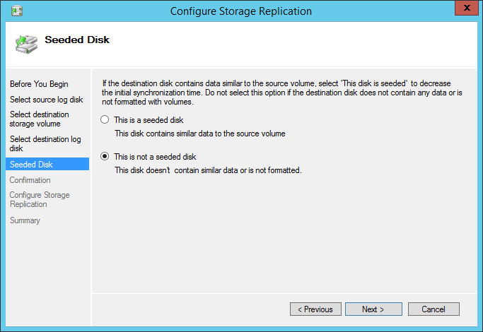 Configure Storage Replication Seeded disk
