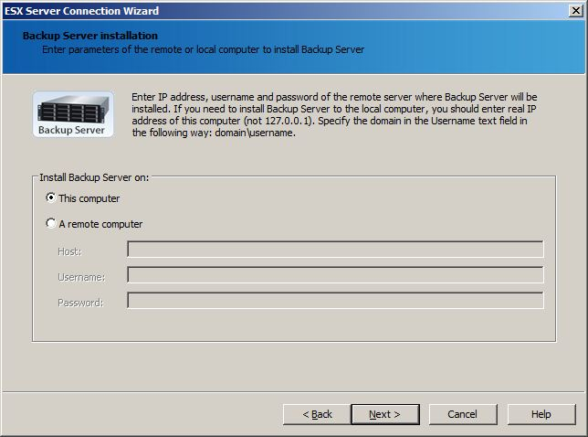 ESX server: Backup Server installation