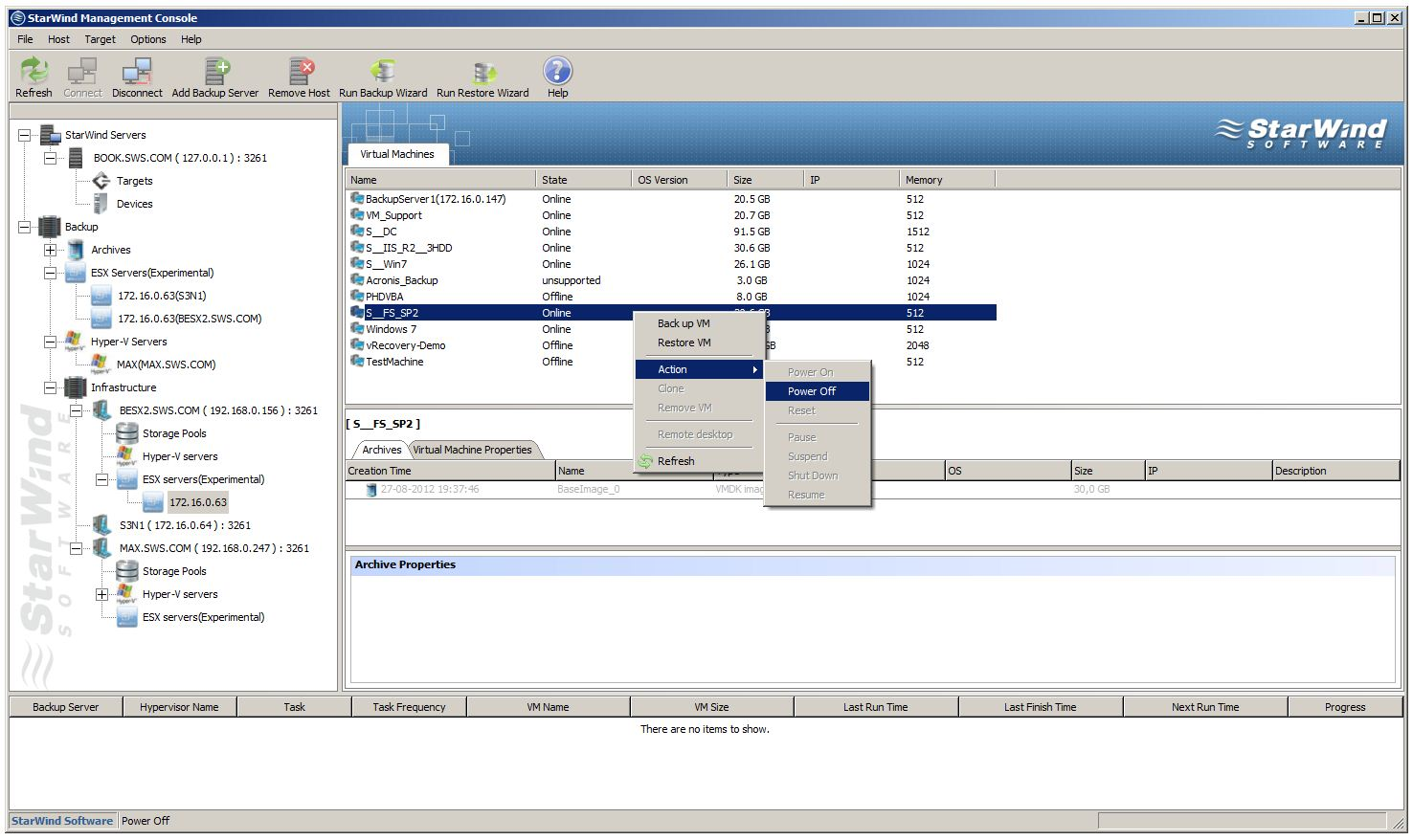 ESX virtual machine management