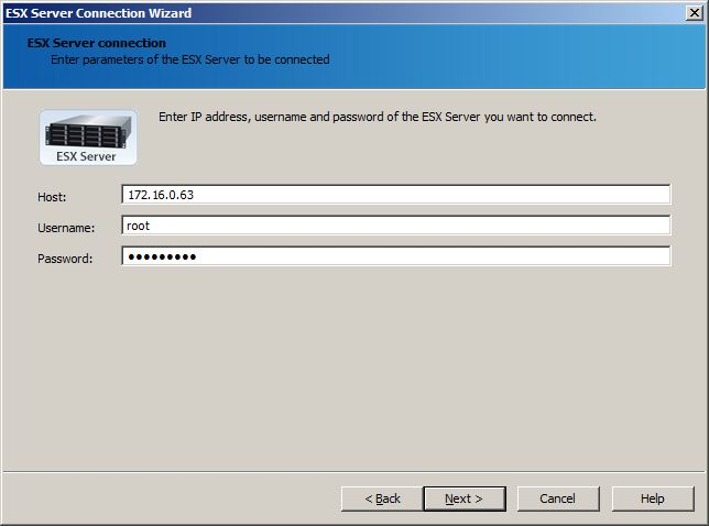 ESX server connection wizard""""