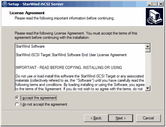 StarWind iSCSI SAN & NAS: Installing StarWind on Windows Server 2008 R2 Server Core