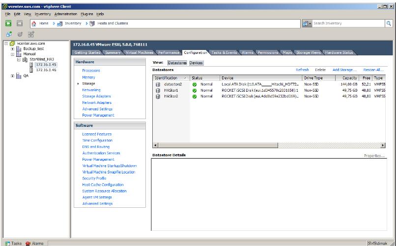 StarWind iSCSI SAN & NAS: Configuring 3 node HA Shared Storage for vSphere