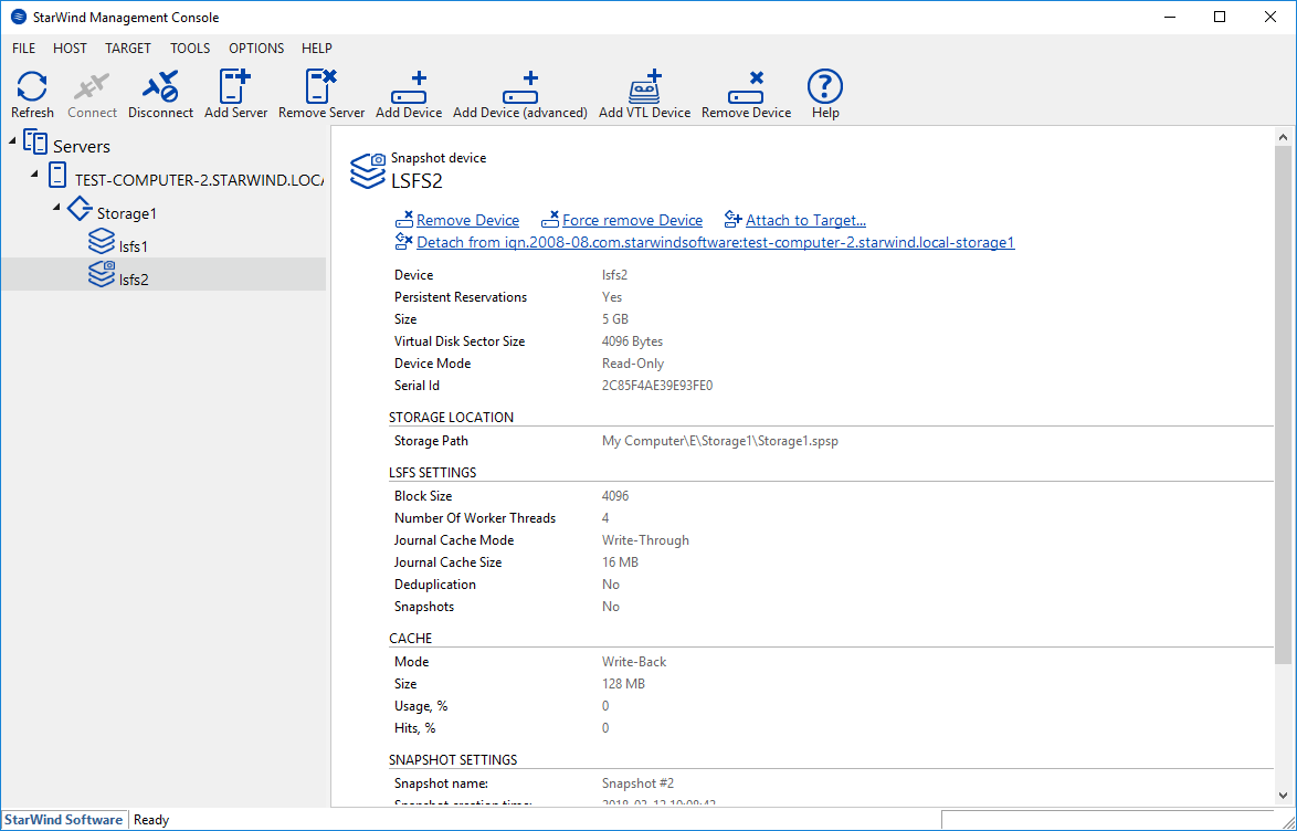 StarWind Virtual SAN<sup>®</sup> Working with StarWind LSFS Snapshots