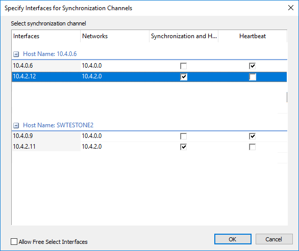 Change network settings and specify the interfaces for synchronization and Heartbeat