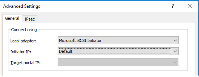 Microsoft ISCSI Initiator as your Local adapter