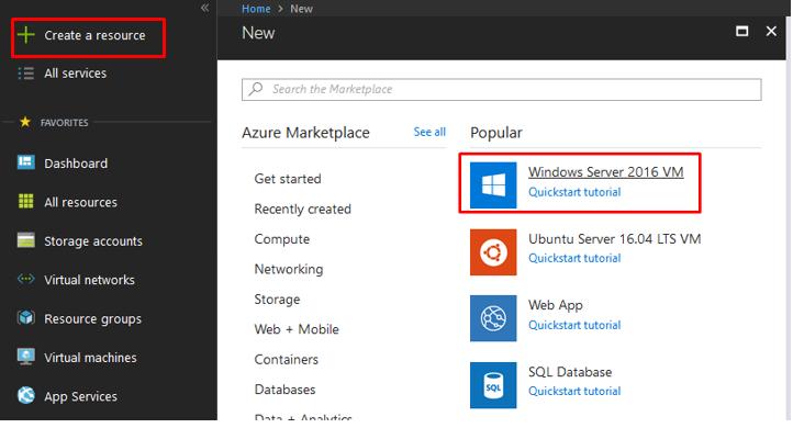"Virtual Machine, click Create a resource and select ""Windows Server 2016 VM"""