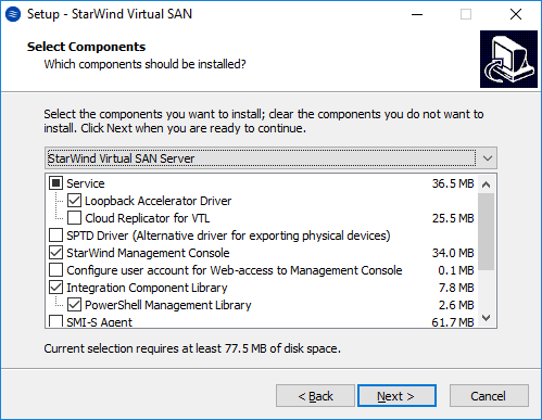 verify that StarWind Virtual SAN Server is selected in the drop-down list