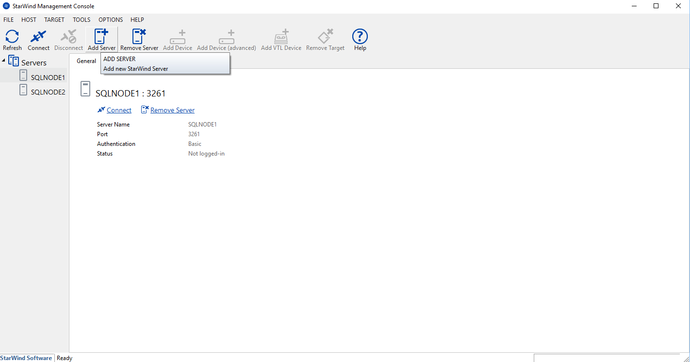 StarWind Management Console, add server SQLNODE1 and SQLNODE2.