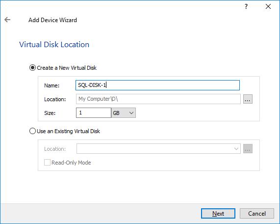 Virtual Disk option