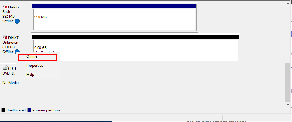 Right-click any of the disks that should be configured and select Online.