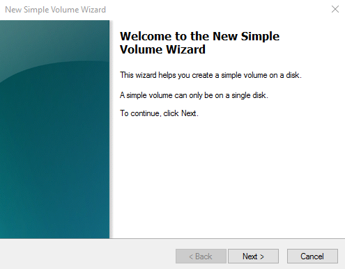 In the Welcome to the New Simple Volume Wizard dialog box
