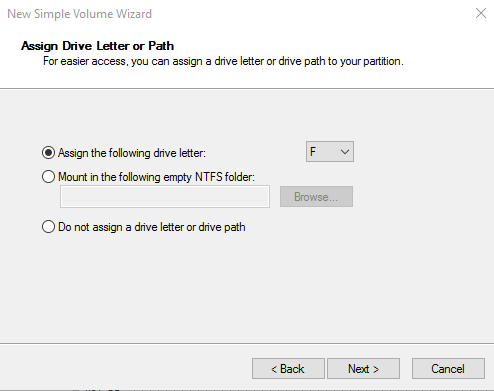Assign Drive Letter or Path dialog box