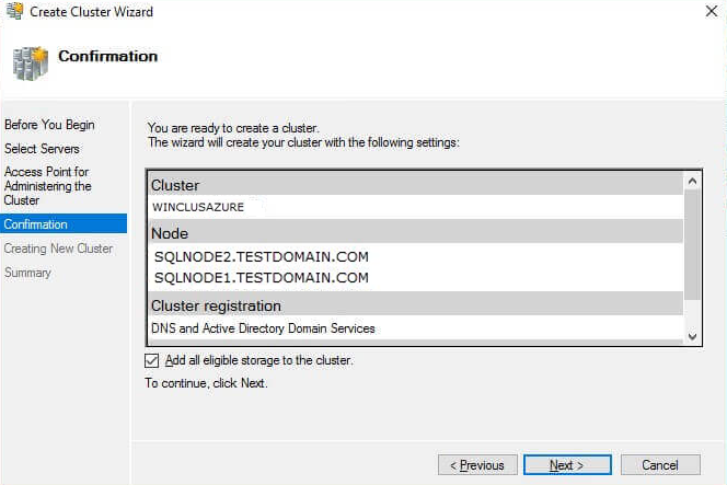 Active Directory and DNS entries for the WSFC virtual hostname/client access point