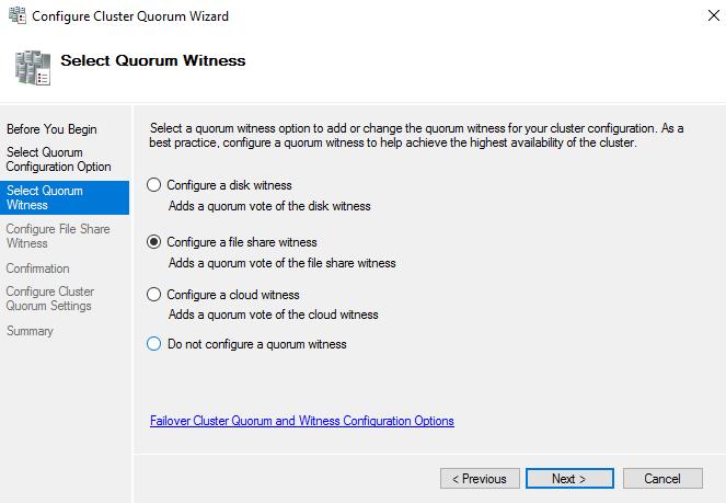 Configure a file share witness option