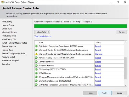 Install Failover Cluster Rules dialog
