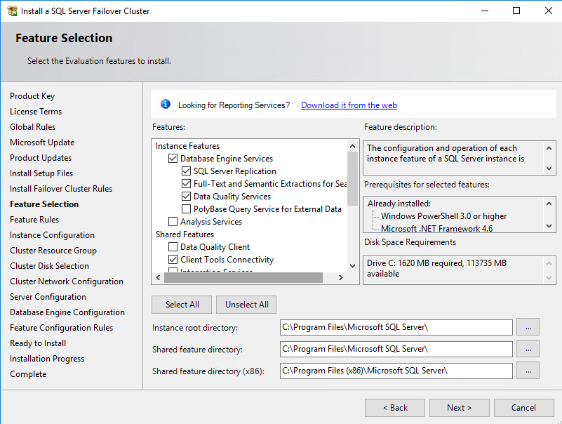 Feature Selection dialog box, select the following components – Database Engine Services and Management Tools