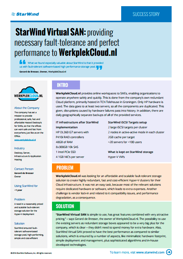 StarWind VSAN provides fault-tolerance to WerkplekCloud nl