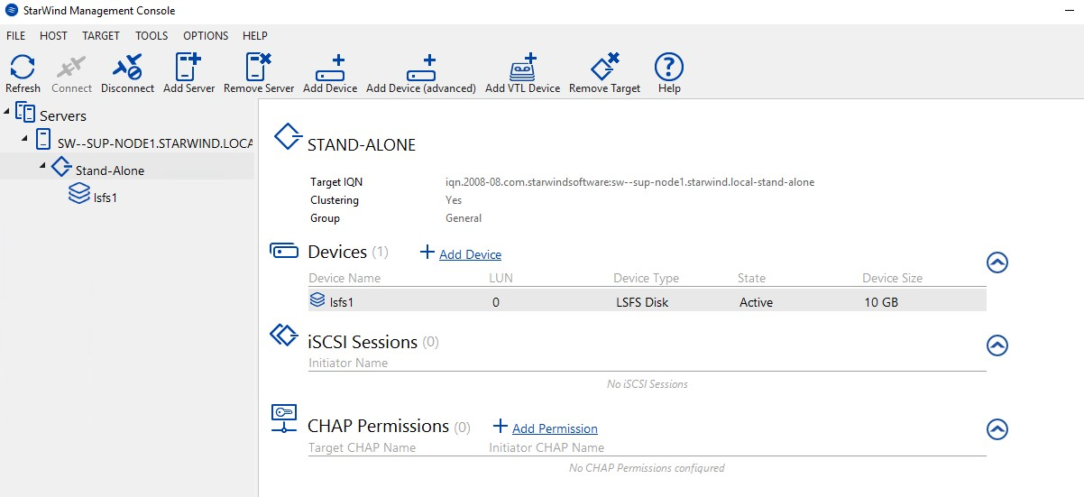 Creating a stand alone LSFS device with StarWind Virtual SAN