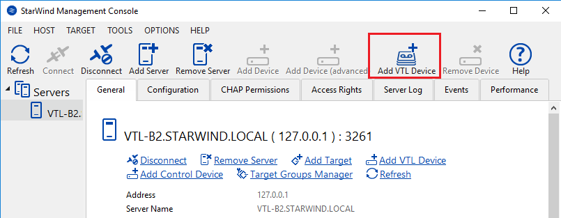 StarWind VTL - Add VTL Device