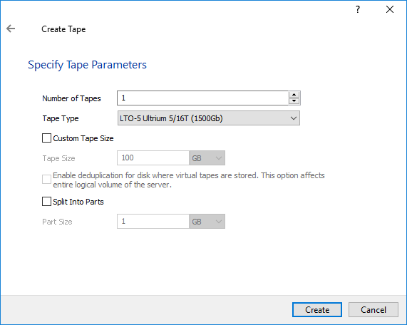 StarWind VTL - Specify Tape Parameters