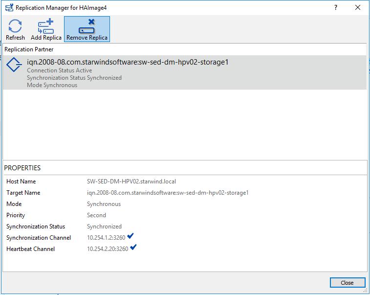 HA Device Replication manager, click the Remove replica menu button