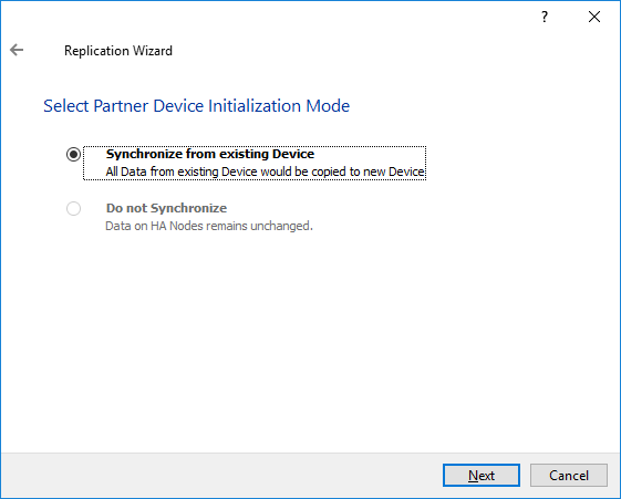 Synchronize from existing Device