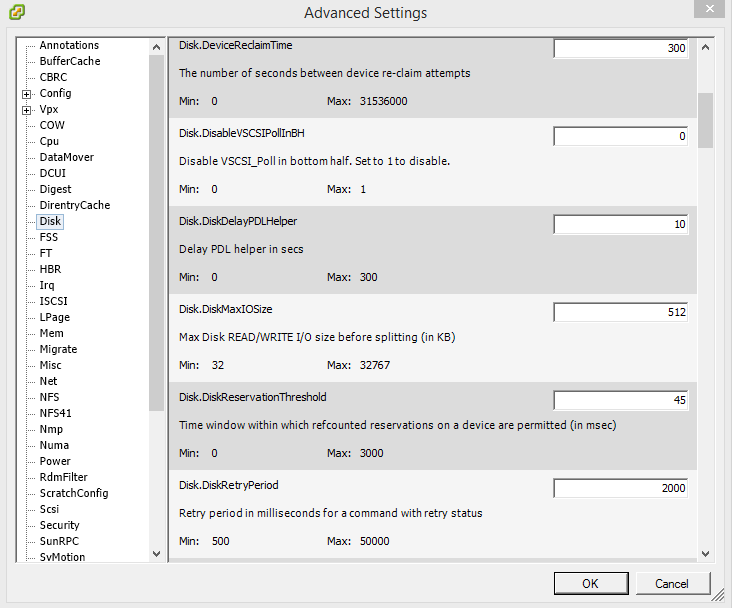 Select Disk and change the Disk.DiskMaxIOSize parameter to 512