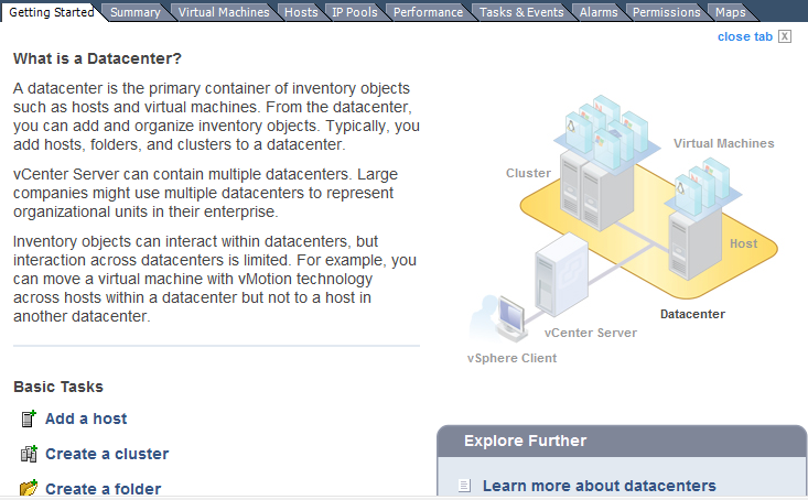 Navigate to the Datacenter Getting Started tab and press Create a cluster.