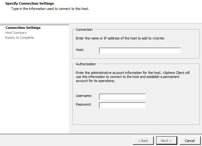 Enter the name or IP address of the ESXi host and specify the administrative account