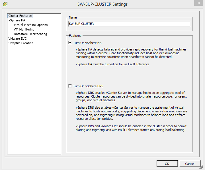 Open the cluster Edit Settings and click Turn on vSphere HA. Press OK