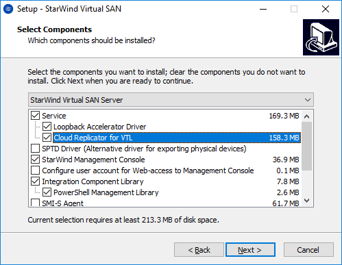 To install the Cloud Replicator service along with the StarWind Virtual SAN service, enable the checkboxes as in the image below.