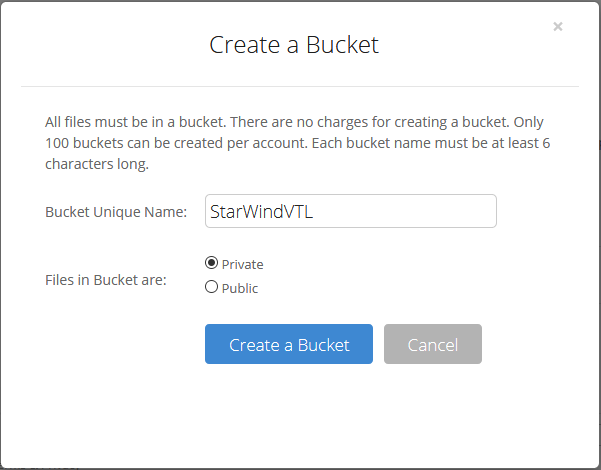 Specify Bucket Unique Name and click on the Create a Bucket button