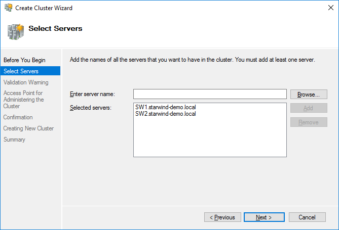 Cluster Manager - Select Servers