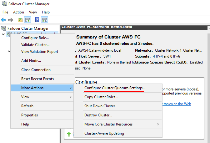 Cluster Quorum Settings