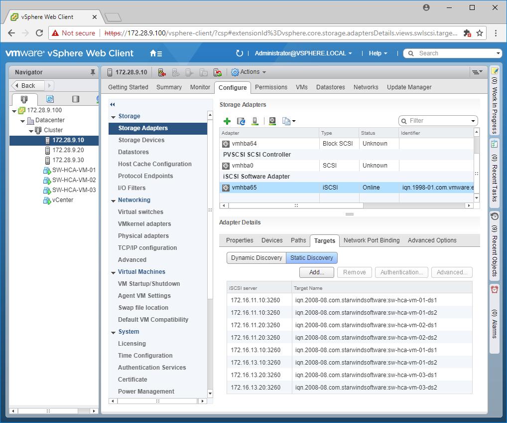 StarWind VSAN HyperConverged 3-node Scenario with VMware