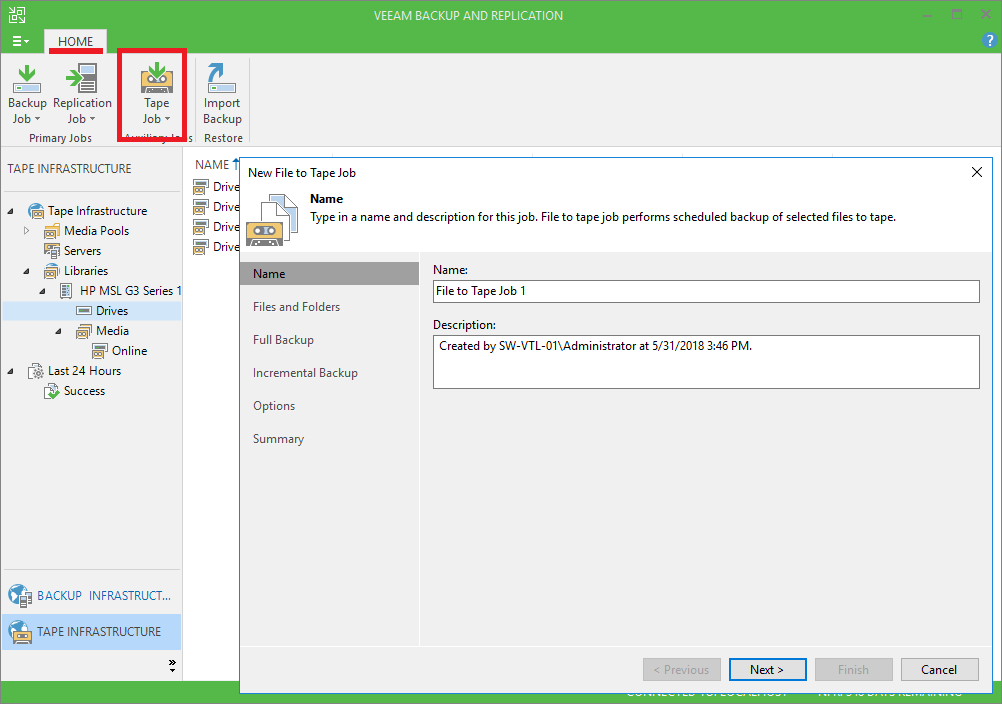 4 - Adding StarWind VTL Device to Veeam B&R Tape Infrastructure