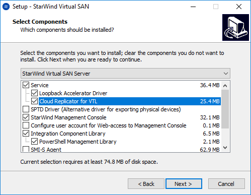 StarWind VTL: Deployment and configuring cloud replication