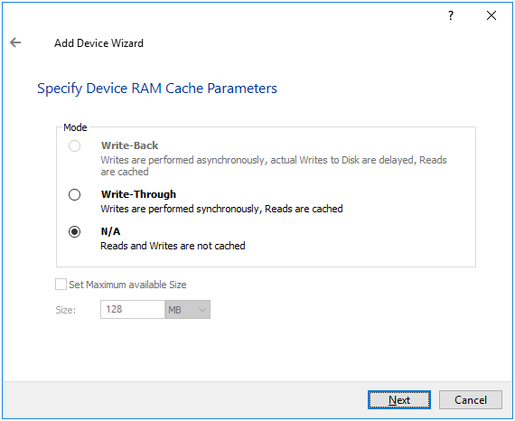 Specify device RAM cache parameters