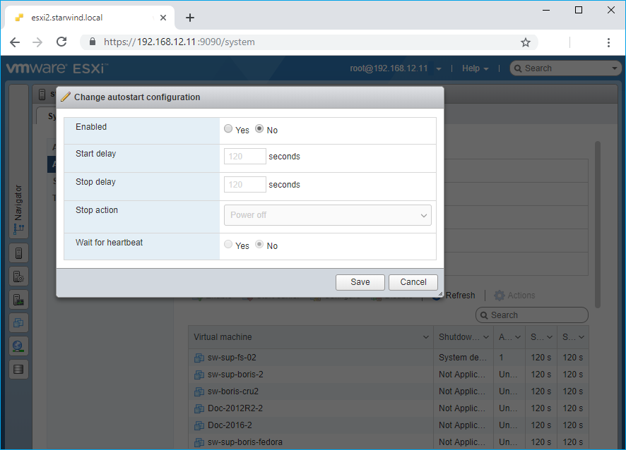 System tab in the ESXi web console